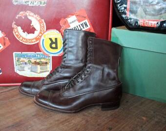 Antique Vintage Boots // Victorian Edwardian Brown Leather Lace Up Boots // La Belle Epoque