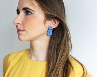 Cobalt blue matted porcelain geometric dangle earrings, geometric earrings, long blue earrings