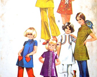 vintage girls dress and bell bottom pants pattern: simplicity 9535