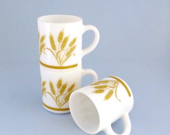 Hazel Atlas Mugs, Set of Three, White Glass, Golden Harvest Wheat, Mid Century, Vintage Coffee Cups, Milk Glass Mugs, Stacking Mugs