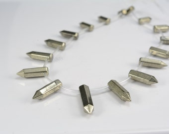pyrite necklace beads - graduation points  jewelry beads - faceted point beads - gemstone points beads supplies -1 strand