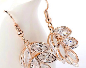 Rose gold plated cubic zirconia floral bridal earrings