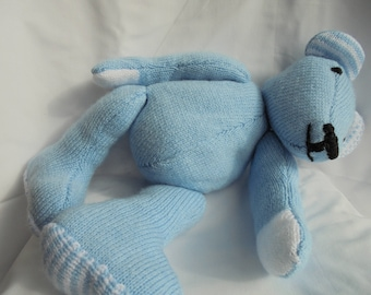 Hand knit blue plush teddy bear