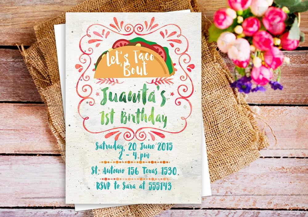 tacos birthday invitation let\'s taco bout birthday