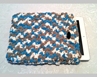 Tablet iPad Case, Chenille with Vintage Button, 10 Inch Hand Crochet Tablet Sleeve, Aqua, Sand, #LR-B9, Washable, Free Domestic Shipping