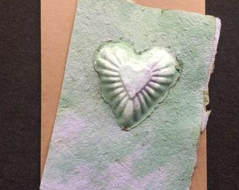 Tie die embossed heart handmade seed paper card, rustic deckle edges, blank inside, love note