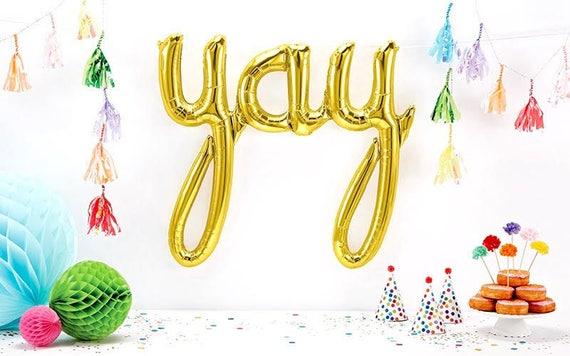 "Giant 45"" YAY Script Balloon, Script Balloon, Gold Balloon, Yay Gold Party,Gold Wedding Decor Balloon Prop Yay Birthday Decor Letter Banner"
