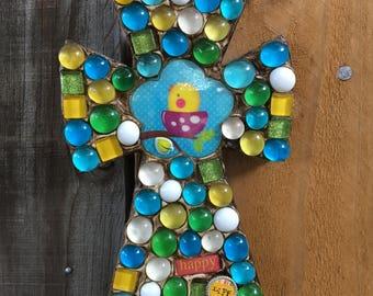 Little Birdie Nest mosaic cross