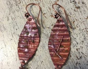 Textured copper earrings with reticulated silver and copper and fire patina