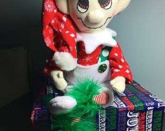 Red and White Candy Cane plush Christmas elf doll