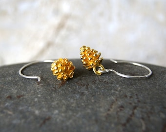 Gold Pine Cone Earrings with Sterling Silver Earwires