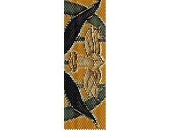 BPYD0001 Yellow Daffodil Even Count Single Drop Peyote Cuff/Bracelet Pattern