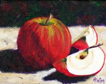 "Apple Painting, Apple Slices, Original Oil Painting, Fruit, Still Life, Red Apple, Apple Art, Apples, 5""x 7', Small Canvas, Helen Eaton"