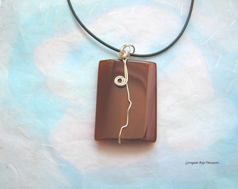 Gorgeous highly polished agate pendant semi-precious stone smooth highly polished wire wrapped handmade gift under 20 gift for her GBT312