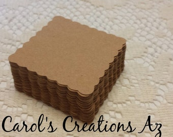 50 Scalloped Squares / Scalloped Square Labels / Scrapbooking / Wedding Favor Tags / Escort Tags / Scalloped Square Die Cuts / ANY Color