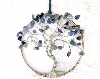 Suncatcher for Windows, Tree of Life Suncatcher, Blue Aventurine Gems, Boho Decor, Tree Window Decor