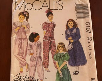 Girl's dress and jumpsuit, McCall's 5107, sizes 7,8, and 10