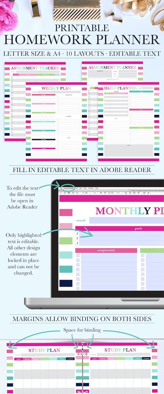 printable homework organizer