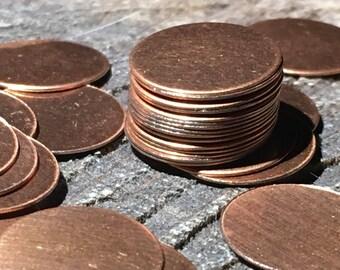 20 base metal copper color disks blanks