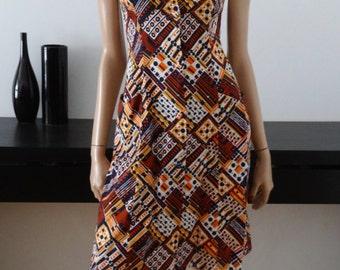 MARYSOL CREATIONS made in France vintage dress / 60s print / target / 36 - uk 8 - us 6 - us size 4