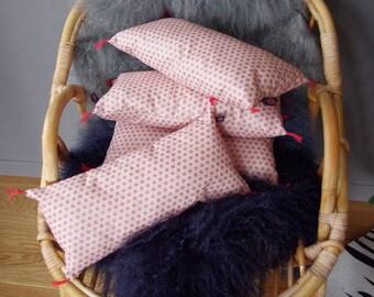 Coussin cale reins bohème en coton vieux rose