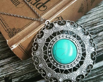 Turquoise mandala necklace, silver circle ring pendant in long chain, bohemian gypsy mandala boho ethnic jewellery, gift for her