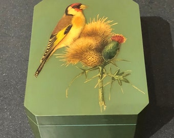 Vintage Handmade Green Decoupage Jewelry Box Bird on Flower