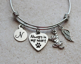 Always in my Heart Cat Memorial Bracelet - Cat Sympathy Gifts, Cat Memorial Gifts, Loss of Cat Gifts, Loss of Cat, Cat Remembrance Jewelry