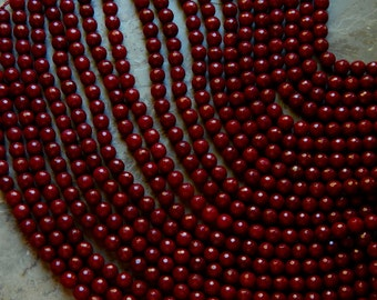 10mm Dark Ruby Red Jade Faceted Polished Gemstone Beads, Half Strand (INDOC915)