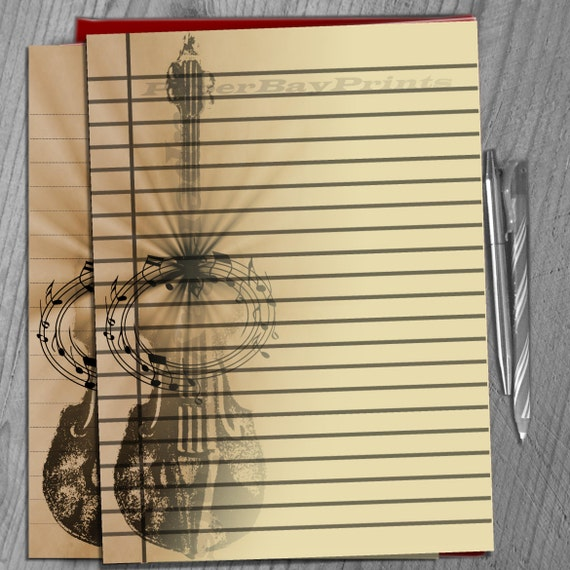 Printable Writing Paper, Lined Paper Background, Retro Violin Print ...