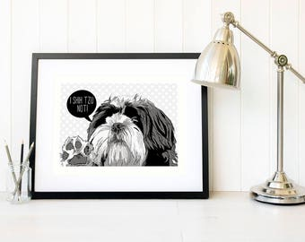 Shih tzu pet portrait drawing Personalised gift Dog portrait pop art wall decor Dog illustration print Birthday gift ideas prints wall art