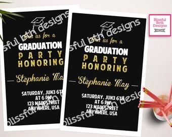 BLACK GRADUATION INVITATION Modern Graduation Invitation, Black and Gold Graduation Invitation, Graduation Invite, Gold & Black Grad Invite
