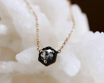 "14K Diamond Necklace, ""Victoria"" Necklace, Salt & Pepper Diamond, Hexagon, Black Diamond, Victorian, Memento Mori, Gothic, Dainty Jewelry"