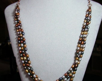Metallic Rice Pearl Necklace with Copper Chain & Toggle Clasp