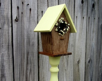 Decorative Birdhouse, Pedestal, Bird House, Pale Yellow, Pip Berry Wreath, Rustic Decor, Primitive, Country Decor, Painted Wood, Stained