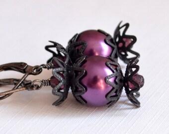 Dark Purple Earrings, Halloween Jewelry, Glass Pearls, Black Gunmetal, Leverback Lever Earwires, Creepy Jewelry