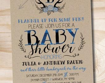 Lumberjack Baby Shower Invitation, Blue Buffalo Plaid Baby Shower Invitation, Rustic Antler Baby Shower Invitation - Digital or Printed