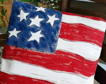 4th of July Decorations, Outdoor Cushion, Home Decor, 4th of July Party, American Flag, Patriotic Pillow, Hand-painted, Flag Pillow Cover