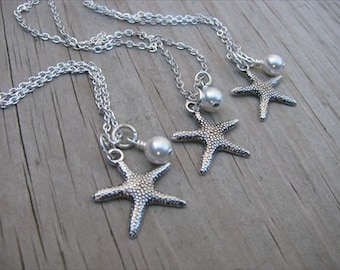 Bridesmaids Necklaces- Silver Starfish Necklaces- with pearl accent- set of 3