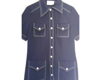Butte Knits Suit Top Navy Blue Mod Size 14 (60's)
