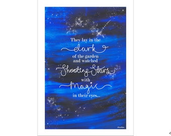 Shooting Star Quote, Couples Gift, Original Quote Print, Wall Art Print, Gifts for Friends, Galaxy Print, Night Sky Print, Starry Night Sky