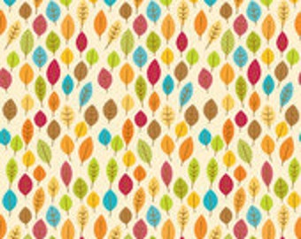 Riley Blake Designs Fabric Harvest Leaves Cream C4032--1/2 yard