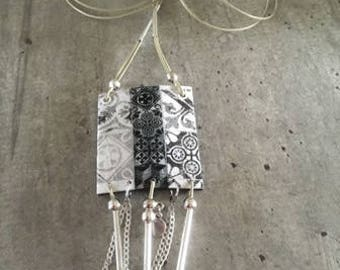 long necklace - polymer clay pendant - cement tiles effect
