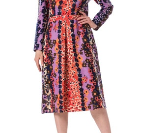 1960's Richard Tam Floral Printed Wool Dress SIZE: S, 4