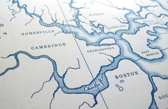 Historic Boston Harbor Letterpress Map Art Print Nautical