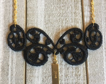 Black Lace Necklace - Gold Stamped Charm (Choice of Love, Believe, Dream, Inspire, Hope, or Peace)
