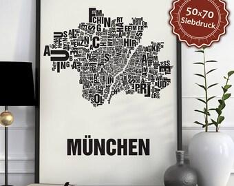 Munich / München Typographic Map Screen Print