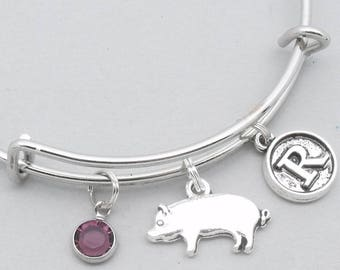 Pig charm bracelet with vintage style initial   personalised pig jewelry   pig bangle   pig gift   birthstone