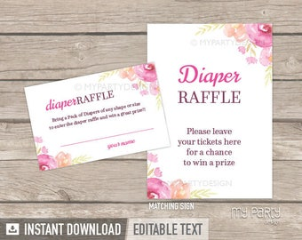 Diaper Raffle Tickets and Sign - Floral Baby Shower - Floral Watercolor - INSTANT DOWNLOAD - Printable PDF with Editable Text (BB04)