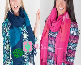 On Sale Monogrammed Stripe Scarf/Shawl Personalized Scarf